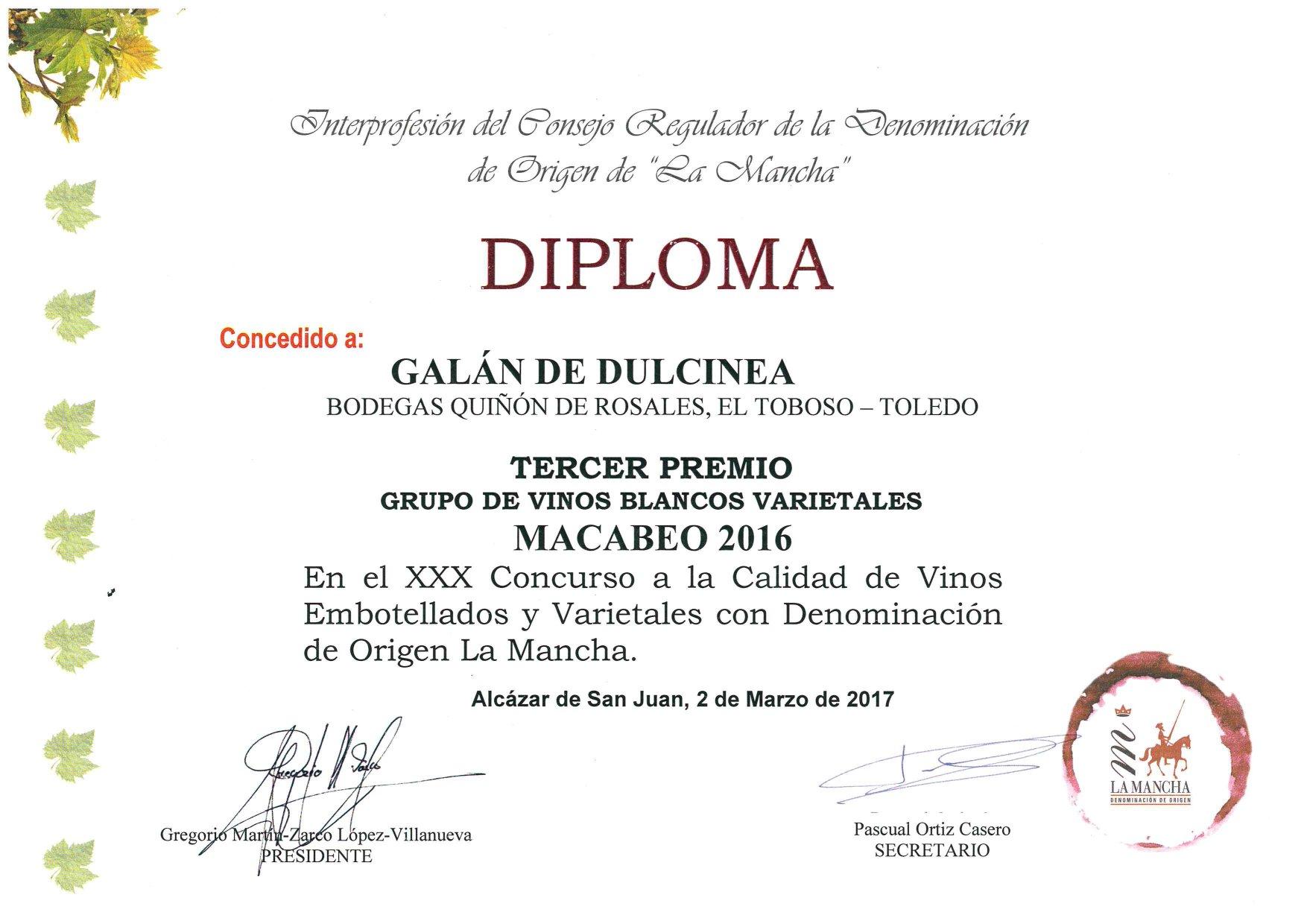 GALAN DE DULCINEA-Macabeo-2016