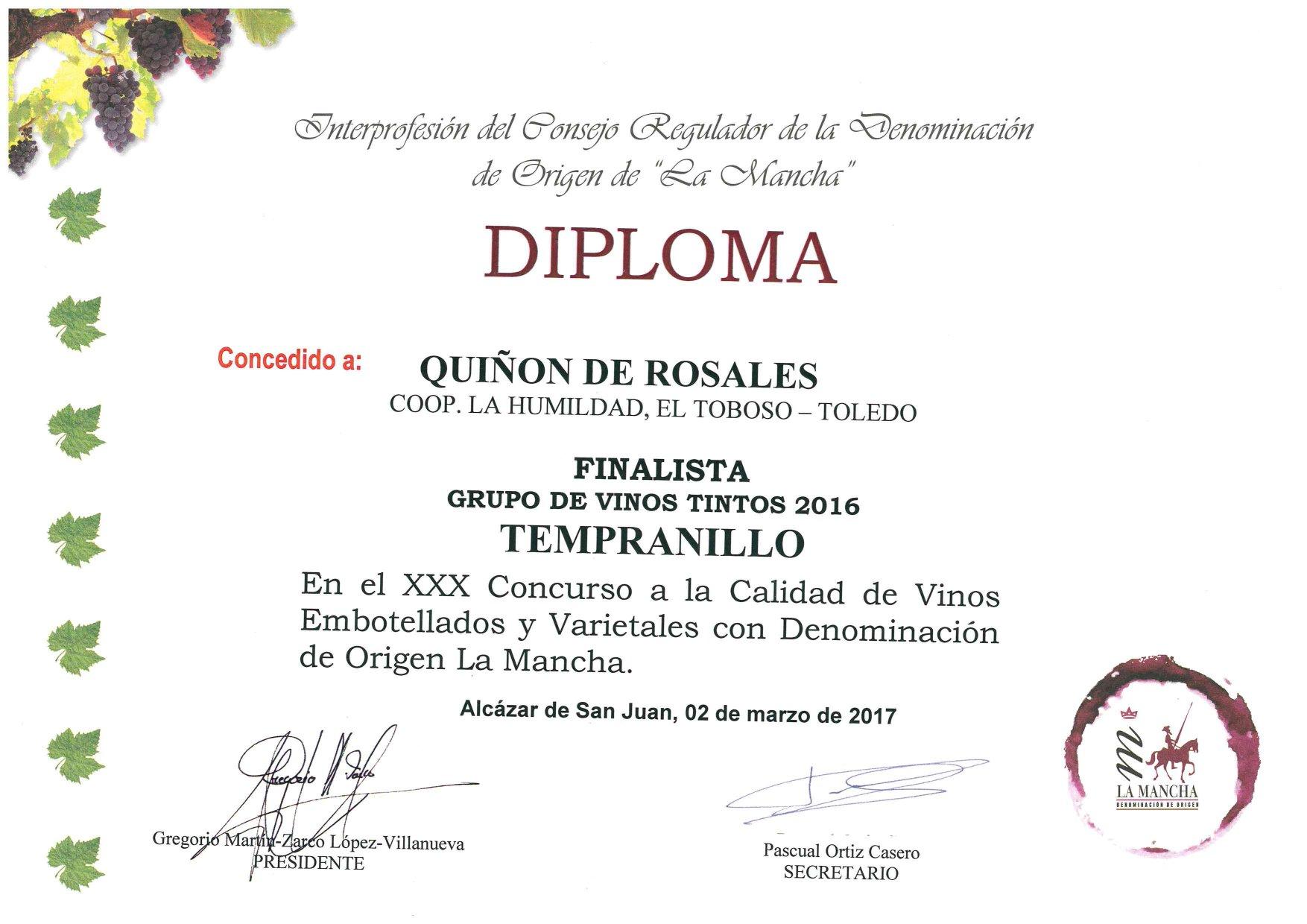 QUIÑON DE ROSALES -Tempranillo-2016